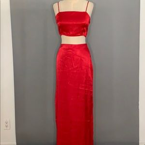 Red Silky Two Piece Set